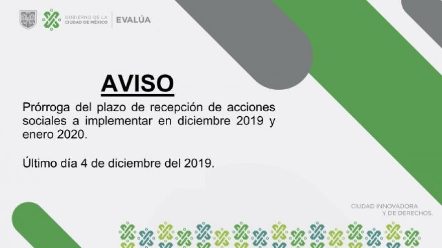 Plazo de recepción de Acciones Institucionales 04 de Diciembre.