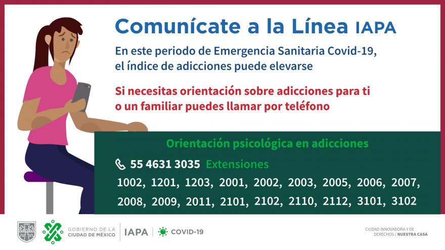 Atención telefónica y virtual para prevención de adicciones #Covid19